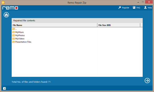 WinZip Repair Tool - Folder View